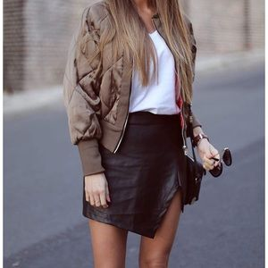 Choies Asymmetrical Faux Leather Mini Skirt